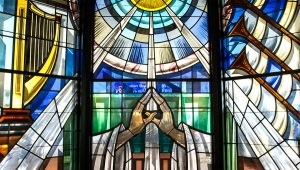 Stained glass chapel window