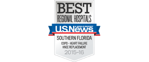 US News Best Regional Hospitals Southern Florida COPD, Heart Failure, Knee Replacement Badge