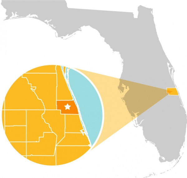 Map of Florida with Indian River county highlighted