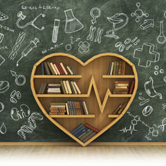 Heart shaped bookshelf and chalkboard