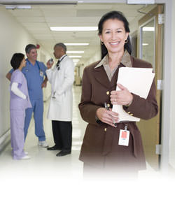 Hospital staff in hallway