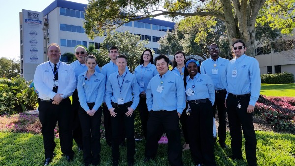 From left to right, Todd Schwanke, Security and Service Ambassador Manager, Yale Goldberg, Bridgette Earney, Isaac Byer, Tabitha Blair, Jessica Barnhardt, Shoua Yang, Bayli Pettis, Mara Harris, Lorentz Jasmin and Peter DeFosses