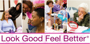 Symbolof the Look Good Feel Better Campaign showing women getting makeup done